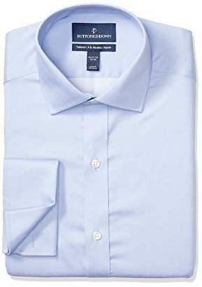 Buttoned Down Men's Tailored Fit French Cuff Spread-Collar Non-Iron Dress Shirt