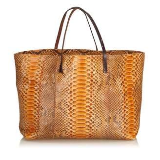 Fendi Orange Python Handbag