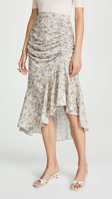 Alice + Olivia Freida Rouched High Midi Skirt
