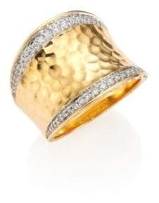 John Hardy Classic Chain Pave Diamond& 18K Yellow Gold Hammered Saddle Ring