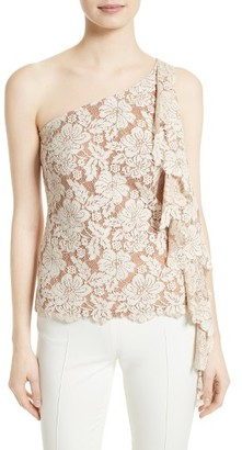 Women's Tracy Reese Lace One-Shoulder Top $248 thestylecure.com