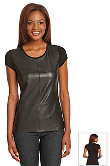 Vince Camuto Faux Leather Blocked Tee