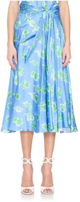 Prabal Gurung Tie-Front Floral Printed Midi Skirt