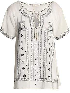 Joie Tasseled Embroidered Silk Crepe De Chine Blouse