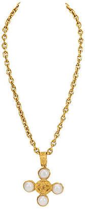 One Kings Lane Vintage Chanel Faux-Pearl Pendant Necklace - Vintage Lux
