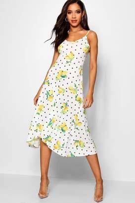 boohoo Ruffle Hem Lemon Print Maxi Dress