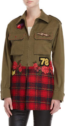 History Repeats Flannel Hem Embroidered Military Jacket
