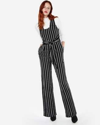 Express Stripe Tie Front Wide Leg Jumpsuit