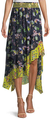 Tanya Taylor Esmee Silk Garden-Print High-Low Skirt