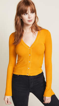 Three Dots Cropped Cardigan with Flared Sleeves