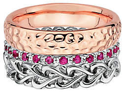 Simply Stacks Sterling Two-Tone Love Ring Set