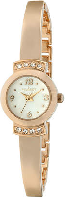 Peugeot Womens Crystal-Accent Rose-Tone Petite Half-Bangle Watch