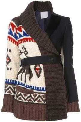 Sacai intarsia knit layered cardigan