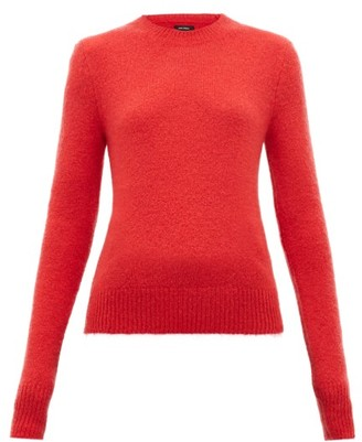 Isabel Marant Flora Padded Shoulder Mohair Blend Sweater - Womens - Red