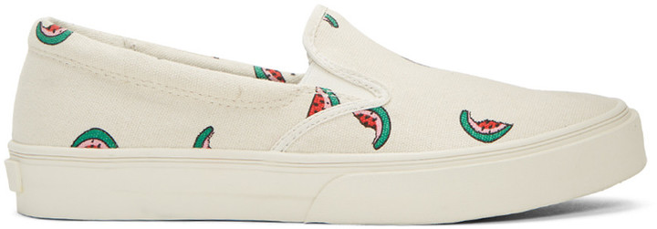 Paul Smith PS by Paul Smith Ecru Watermelon Clyde Slip-On Sneakers