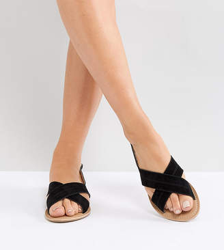 Park Lane Wide Fit Suede Flat Sandals