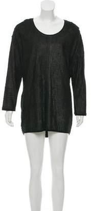 Neil Barrett Long Sleeve Leather Fringe Mini Dress
