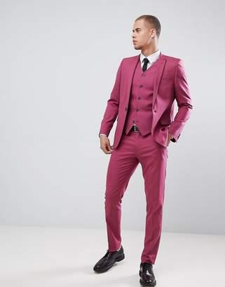 Asos Design DESIGN skinny suit pants in berry pink