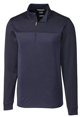Cutter & Buck Men's Double Knit Drytec 50+ UPF Traverse Stripe Half Zip Pullover