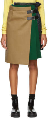 Sacai Beige and Green Wool Skirt