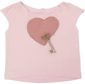 Heart & Key Patch Cotton Jersey Crop Top