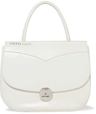 Calvin Klein Round Lock Embossed Leather Tote - White