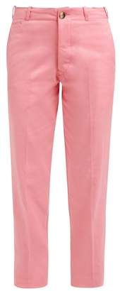 Holiday Boileau - High Rise Cotton Twill Chino Trousers - Womens - Pink