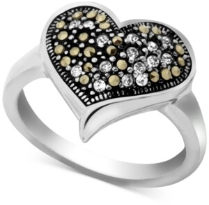 Macy's Marcasite & Crystal Heart Ring in Fine Silver-Plate