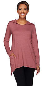 LOGO by Lori Goldstein LOGO Lounge by Lori Goldstein Hooded Top w/Front Drape Poc