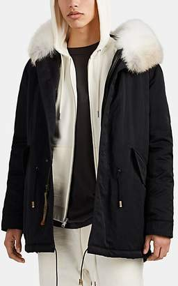 Mr & Mrs Italy Men's Fur-Trimmed Polished Twill Down Midi-Parka - Black