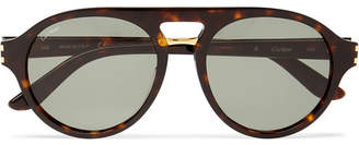 Cartier Eyewear Aviator-Style Tortoiseshell Acetate And Gold-Tone Sunglasses