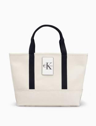 Calvin Klein monogram logo canvas carryall tote bag