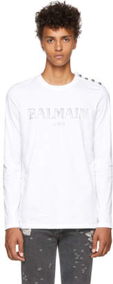 Balmain White Logo Long Sleeve T-Shirt