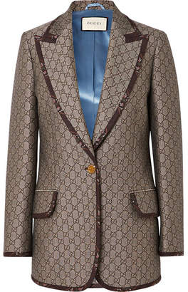 Gucci Cotton And Wool-blend Jacquard Blazer - Brown
