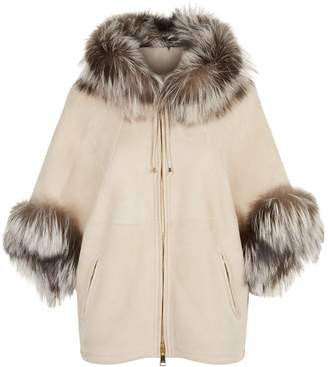 William Sharp Fox Trimmed Shearling Hooded Jacket
