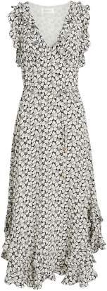 Zimmermann Ruffle Floral Midi Dress