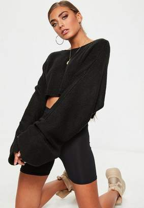 Missguided Black Extreme Sleeve Cropped Sweater