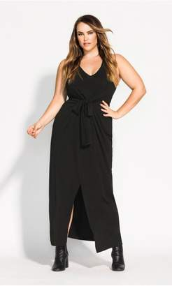 City Chic Citychic Jersey Knot Maxi Dress - black