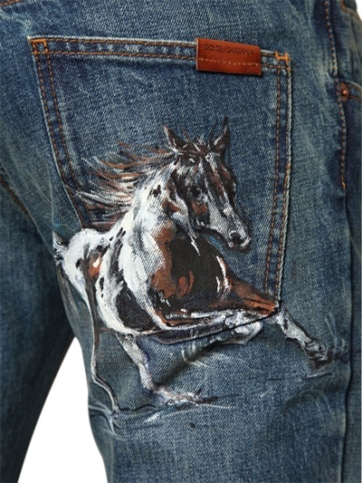 Dolce & Gabbana 19cm Hand Painted Horse 14 Gold Jeans
