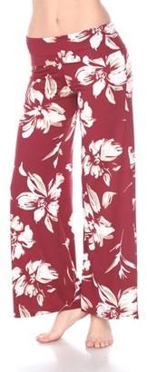 White Mark Women's Hawaiian Flower Palazzo Pants