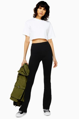 Topshop Womens Ribbed Jersey Flare Trousers - Black