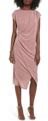 Women's Topshop Asymmetrical Slinky Drape Midi Dress $55 thestylecure.com