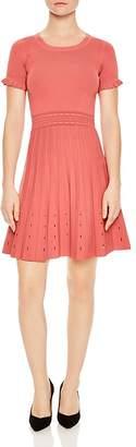 Sandro Etor Eyelet-Detail Pleated Knit Dress