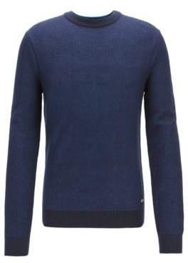 BOSS Hugo Crew-neck sweater in micro-structured Italian cotton XL Dark Blue