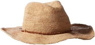 Hat Attack Women's Raffia Crochet Cowboy Hat with Bead Trim