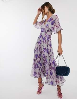 Asos Design DESIGN floral drape sleeve midi dress