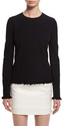 Tom Ford Fringe-Hem Long-Sleeve Sweater, Black