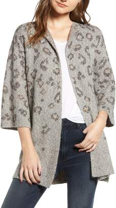 Cupcakes And Cashmere Kline Leopard Print Cotton Blend Cardigan