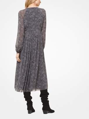 MICHAEL Michael Kors Feather-Striped Chiffon Dress