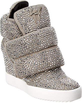Giuseppe Zanotti Embellished Suede Velcro Wedge Sneaker
